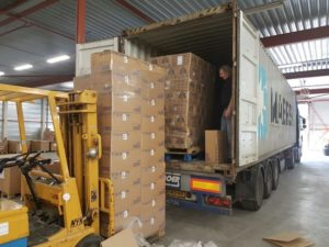 Loading container of Aid for Israel