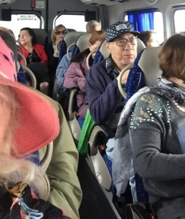 Busload of Holocaust Survivors and elderly Israelis on tour