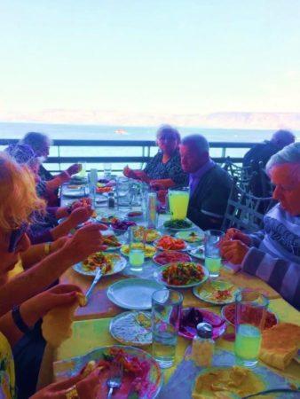 Holocaust Survivors having lunch Sea of Galilee
