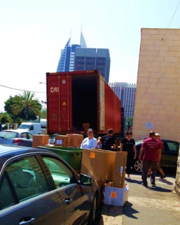 Israel Relief AId container being unloaded