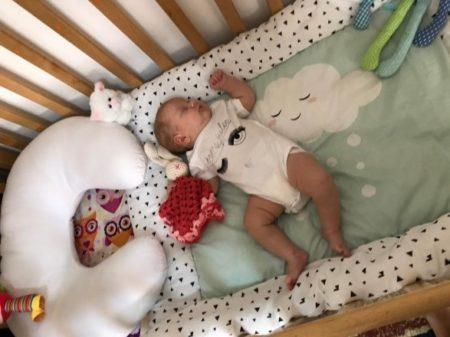 Baby in Israel in crib
