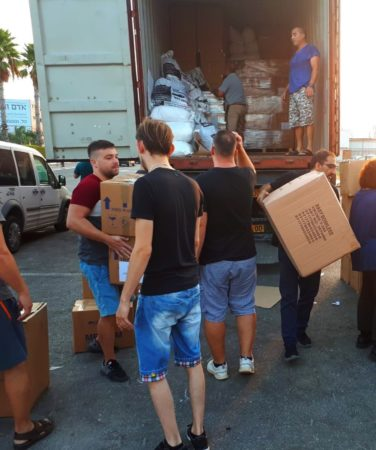 Unloading Container of Israel Relief Aid September 2019