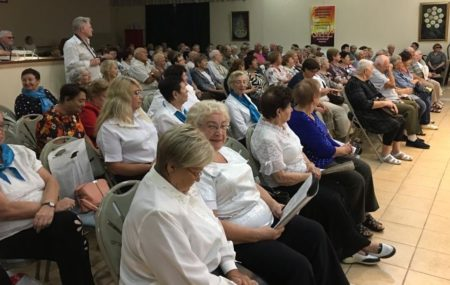 Holocaust Survivors and pensioners from Israel watch Fall Jewish Holiday presentation