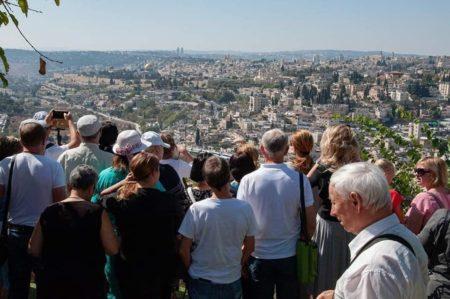 Israeli immigrants sightseeing in Jerusalem
