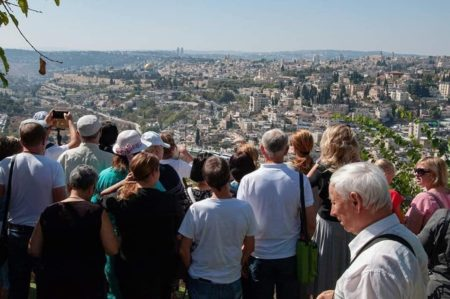 Israeli immigrants sightseeing in Jerusalem