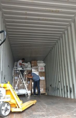 Loading Israel Relief Aid container