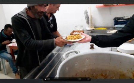 Food line at tel Aviv Homeless Center