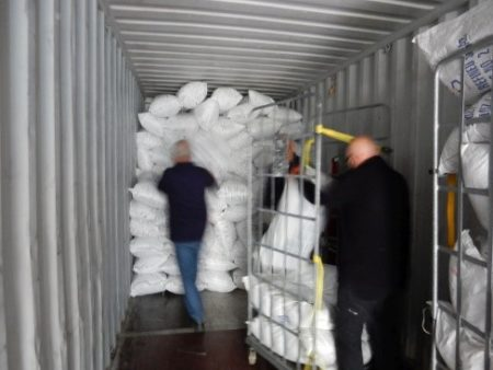 Israel Relief AId Loading bedding in container