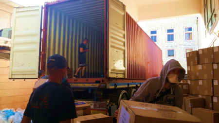 Israel Relief Aid June container unloading