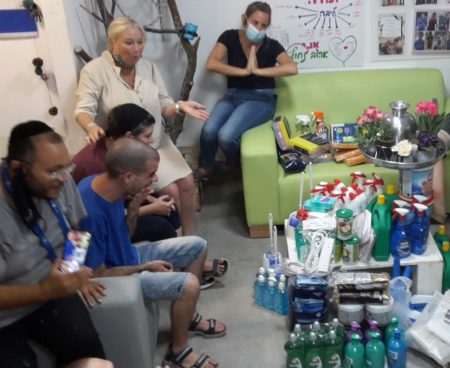 Cleaning supplies donated from Israel Relief Aid for Ben Shemen Day Center for Disabled Youth