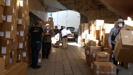 Israel Relief Aid container unloading