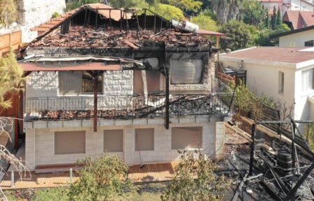 Burnt home of aid center leaders