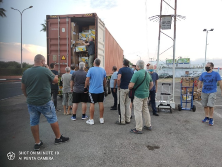 Israel Relief Aid Container arrives in Israel