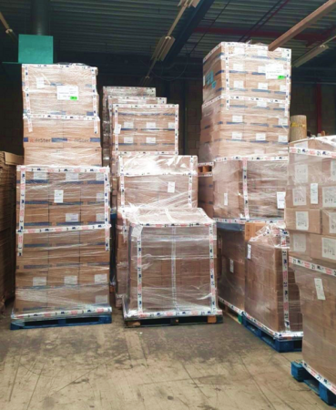 Pallets of Israel Relief Aid
