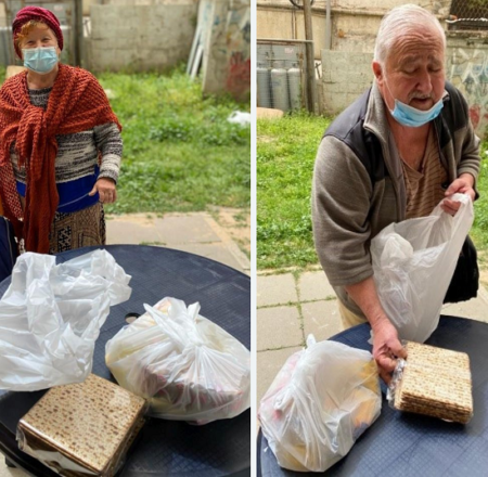 Holocaust Survivors receiving Israel Relief Aid Passover food bags