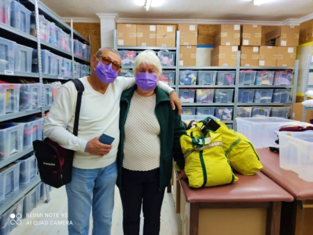 Husband and Wife receive Israel Relief Aid at Ashdod Aid center