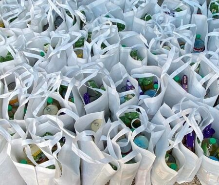 Grocery bags from Israel Relief Aid for Holocaust Survivors